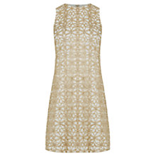 Buy Oasis Metallic Lace Shift Dress, Gold Online at johnlewis.com