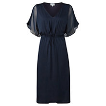 Buy Jigsaw Chiffon Overlay Gathered Dress, Navy Online at johnlewis.com