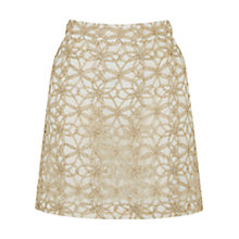 Buy Oasis Metallic Lace Mini Skirt, Gold Online at johnlewis.com