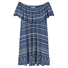 Buy Mango Printed Ruffle Dress, Medium Blue Online at johnlewis.com