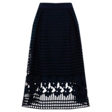 Buy Warehouse Grid Lace Skirt, Navy Online at johnlewis.com