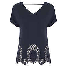 Buy Oasis Cutwork Detail Roll Sleeve T-Shirt, Navy Online at johnlewis.com