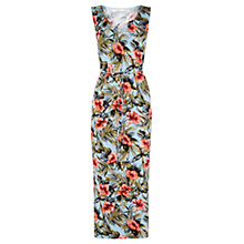Buy Oasis Waikiki Print V-Neck Midi Dress, Light Blue Online at johnlewis.com