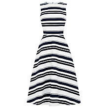 Buy Warehouse Striped Midi Dress, Blue Online at johnlewis.com
