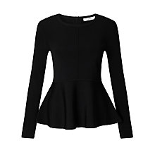 Buy John Lewis Peplum Knit Jumper, Black Online at johnlewis.com