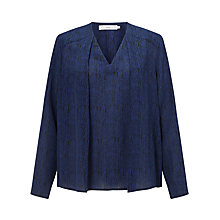 Buy John Lewis Laura Pleat Front Top, Navy Online at johnlewis.com