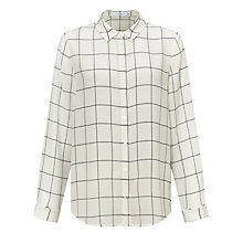 Buy John Lewis Silk Jeanne Linear Block Print Shirt, White Online at johnlewis.com