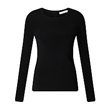 Buy John Lewis Crew Neck Slim Fit Jumper, Black Online at johnlewis.com