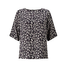 Buy Kin by John Lewis Herringbone Print Top, Navy Online at johnlewis.com