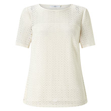 Buy John Lewis Jersey Lace Top, Cream Online at johnlewis.com