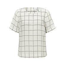 Buy John Lewis Silk Linear Block Print Blouse, White Online at johnlewis.com