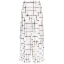Buy Jaeger Laboratory Wide-Leg Trousers, Black/White Online at johnlewis.com