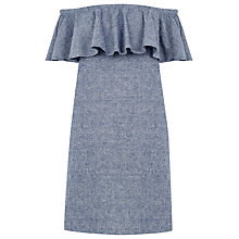 Buy Warehouse Bardot Ruffle Dress, Navy Online at johnlewis.com