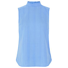 Buy Warehouse Ruffle Neck Shell Top, Light Blue Online at johnlewis.com