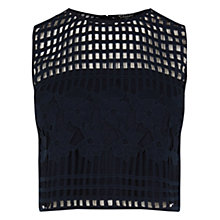 Buy Warehouse Grid Lace Cami Top, Navy Online at johnlewis.com