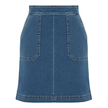 Buy Warehouse Pocket Detail Denim Skirt, Light Wash Online at johnlewis.com