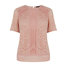 Buy Warehouse Panelled Lace Top Online at johnlewis.com