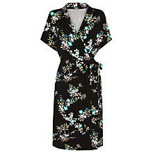 Buy Warehouse Vintage Floral Wrap Dress, Black Online at johnlewis.com