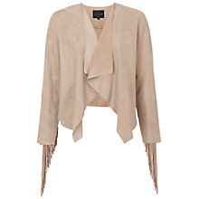 Buy French Connection Honey Suede Fringed Jacket, Palm Sands Online at johnlewis.com