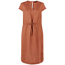 Buy Jaeger Linen Drawstring Waist Dress, Russet Brown Online at johnlewis.com