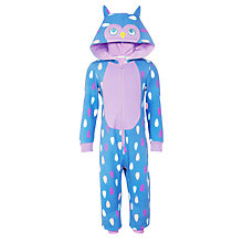 Buy John Lewis Girls' Fleece Glow In The Dark Owl Onesie, Blue/Lilac Online at johnlewis.com