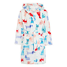 Buy John Lewis Girls' Dog Print Dressing Gown, Multi Online at johnlewis.com