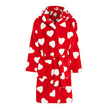 Buy John Lewis Girls' Heart Waffle Robe, Red Online at johnlewis.com