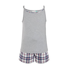 Buy John Lewis Girls' Shorts and Vest Pyjama Sets, Grey/Blue Online at johnlewis.com
