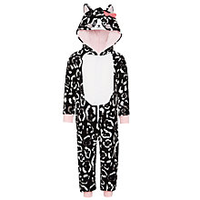 Buy John Lewis Girls' Cat Onesie, Black/Multi Online at johnlewis.com