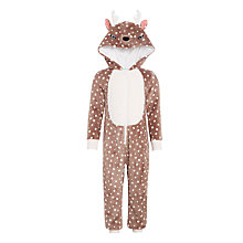Buy John Lewis Girls' Reindeer Fleece Onesie, Brown Online at johnlewis.com