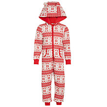 Buy John Lewis Children's Fair Isle Onesie, Red/White Online at johnlewis.com