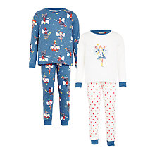 Buy John Lewis Girls' Fairy Pyjamas, Pack of 2, Blue/White Online at johnlewis.com