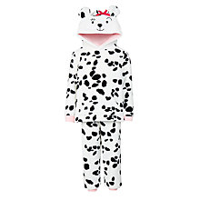 Buy John Lewis Children's Fleece Dalmatian Two Piece Pyjamas, White/Black Online at johnlewis.com
