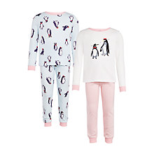 Buy John Lewis Girls' Penguin Print Pyjamas, Pack of 2, Multi Online at johnlewis.com