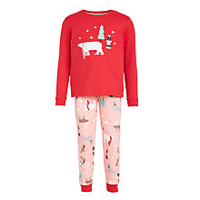 Buy John Lewis Children's Arctic Animals Pyjamas, Red/Pink Online at johnlewis.com