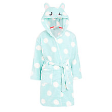 Buy John Lewis Girls' Spotted Mouse Dressing Gown, Aqua/White Online at johnlewis.com
