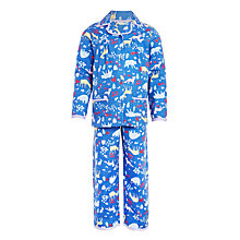 Buy John Lewis Girls' Woodland Woven Pyjamas, Blue/Multi Online at johnlewis.com