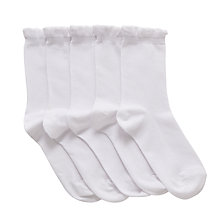 Buy John Lewis Children's Frill Top Socks, Pack of 5, White Online at johnlewis.com