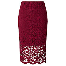 Buy Samsoe & Samsoe Alia Lace Pencil Skirt, Beet Red Online at johnlewis.com