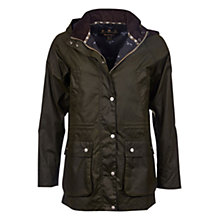 Buy Barbour Brae Wax Parka, Seaweed Online at johnlewis.com