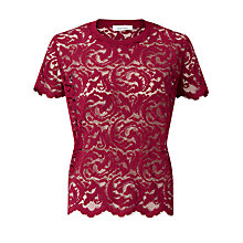 Buy Samsoe & Samsoe Liva Lace Top, Beet Red Online at johnlewis.com