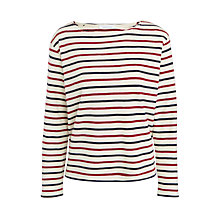 Buy Samsoe & Samsoe Damas Stripe Jersey Top, Breton Beet Online at johnlewis.com