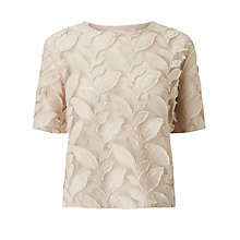 Buy Samsoe & Samsoe Mayer Embroidered Leaf Top, Turtle Dove Online at johnlewis.com
