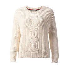 Buy Hilfiger Denim Long Sleeve Cable Knit Jumper, Egret Online at johnlewis.com