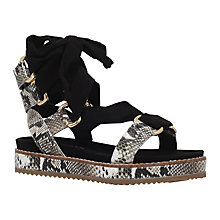 Buy Kurt Geiger Barbon Flatform Tie Sandals, Black/Beige Online at johnlewis.com