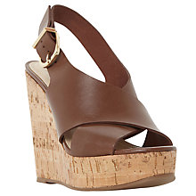 Buy Dune Black Karta Cross Strap Wedge Heeled Sandals Online at johnlewis.com
