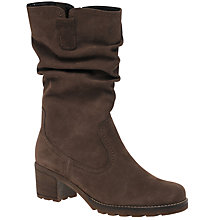Buy Gabor Dunmow Wide Block Heeled Calf Boots, Nougat Online at johnlewis.com