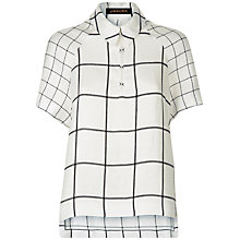 Buy Jaeger Laboratory Check Polo Shirt, White/Black Online at johnlewis.com