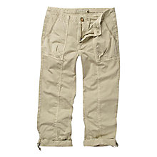 Buy Fat Face Washed Utility Cropped Trousers, Sand Online at johnlewis.com