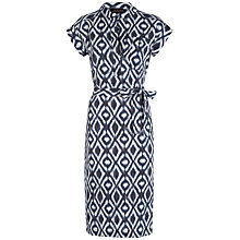 Buy Jaeger Diamond Shirt Dress, Navy/Ivory Online at johnlewis.com